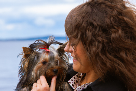 portrait of pretty young woman with long curly hair in black jacket holding tiny Yorkshire Terrier dog closeup on blue sky background Banque d'images - 122596549