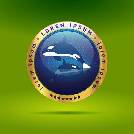Killer whale emblem Illustration
