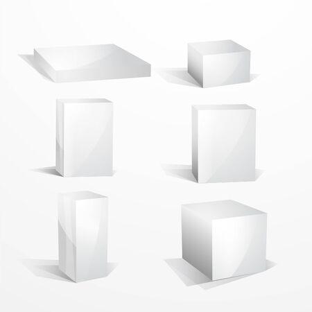 Blank white boxes Stock Photo