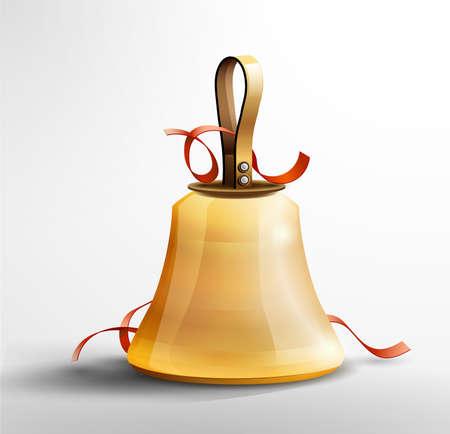 Isolated vector Christmas Santas hand bell