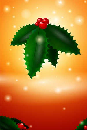 Christmas mistletoe card illustration