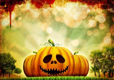 Beautiful Halloween pumpkin illustration on surreal, abstract background Stock Photo