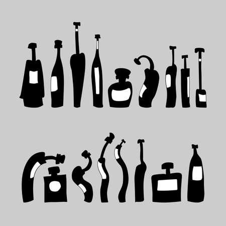 Set of hand drawn bottles
