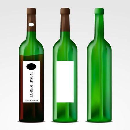 Editable vector wine bottles