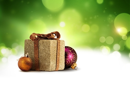 Christmas present box background photo