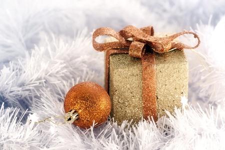 Christmas tree decoration on white photo