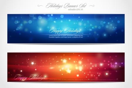 Winter Holidays web banner set Stock Vector - 11312337