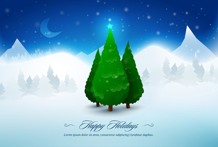 Pine Christmas trees in snow  Illustration