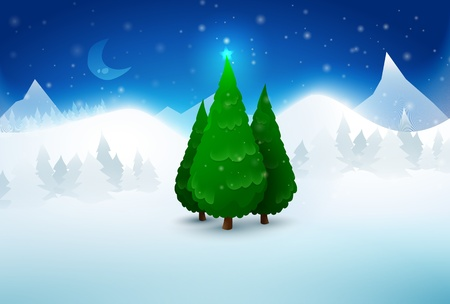 Pine Christmas trees in snow