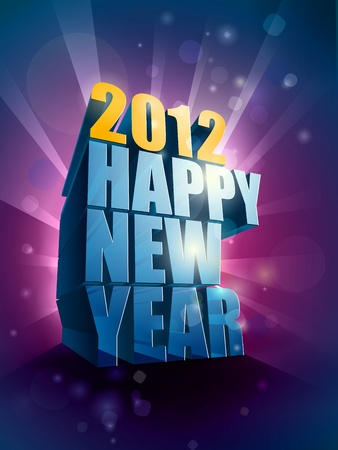 2012 Happy New Year greeting illustration