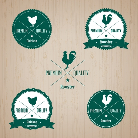 Animal Chicken and Rooster badge - editable vector