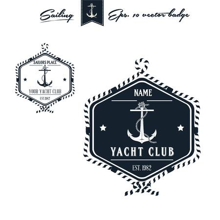 Vintage Retro Nautical Badge set  Stock Photo