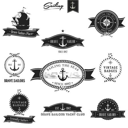 Retro Nautical Badge set   Editable vector illustration