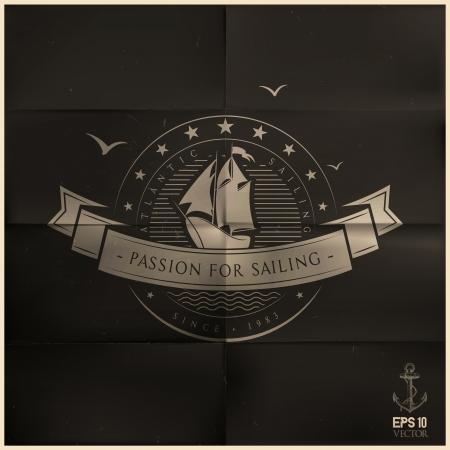 folded black sailing badge Illustration
