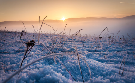 Frozen ground with sunset Stock Photo