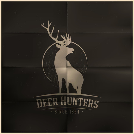 deer hunting: Deer buck on fool moon Illustration