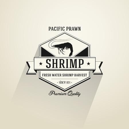 Vintage Shrimp badge in flat design style Vector