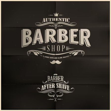 barber shave: Barber Shop Badge Illustration