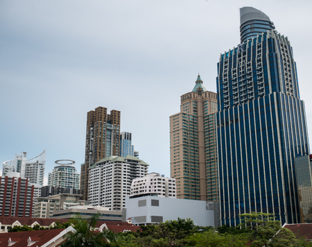 Bangkok Cityscape in Siam Business District Stock Photo