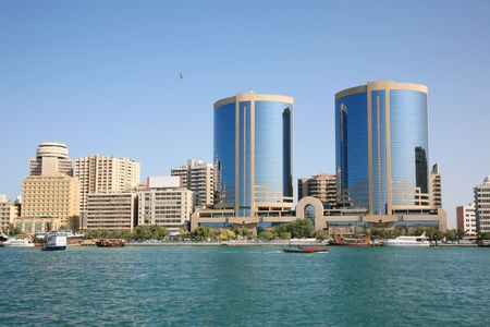 bustling: Modern buildings Beside Creek Dubai Stock Photo