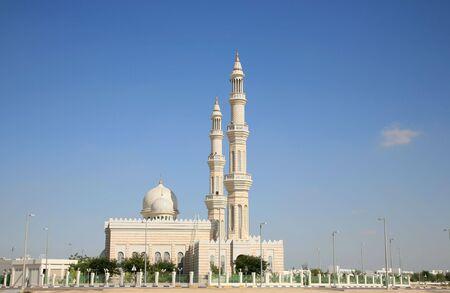 islamic wonderful: Modern Mosque on Blue Sky Stock Photo
