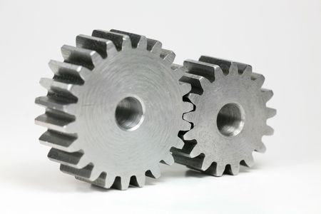 interdependent: Cog-wheel on White Background