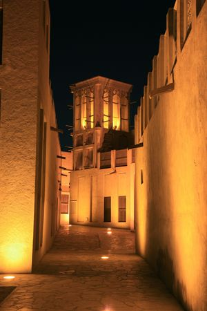 Arabian House with Wind Towers in Night photo