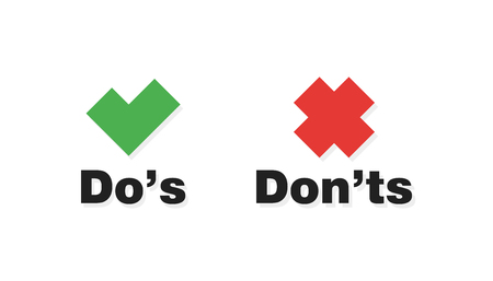 Do and Dont check tick mark and red cross icons isolated on white background. Vector Dos and Donts checklist or choice option symbols