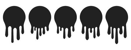Jeu d'icônes de peinture dégoulinante. Liquide actuel. La peinture coule. Logo de cercle fondu. Taches et encres actuelles. Illustration vectorielle.