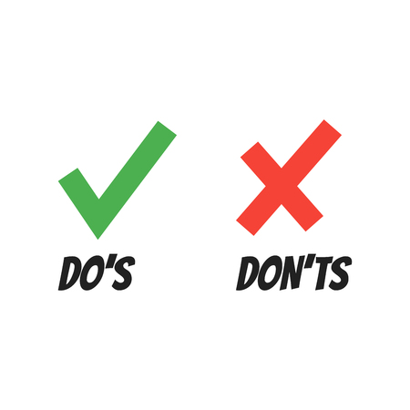 Do and Dont check tick mark and red cross icons isolated on white background. Vector Do's and Don'ts checklist or choice option symbols