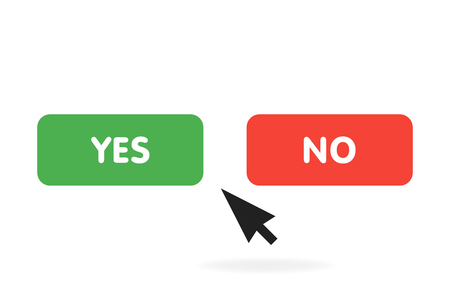 Yes or no buttons click pressing YES button choice concept. Vector illustration.