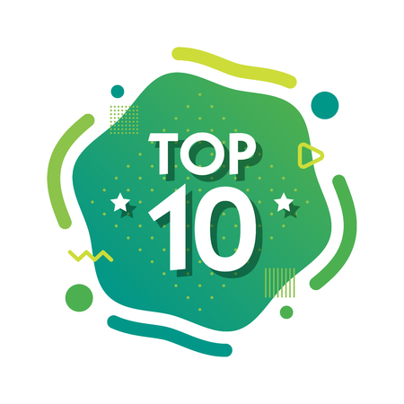 Top 10 ten words on green abctract background. Vector illustration.