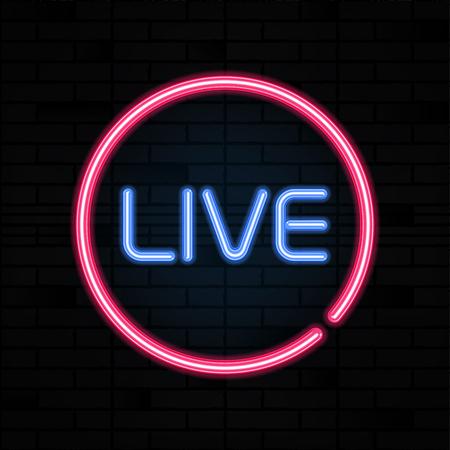 Live neon sign vector. Stream design template, light banner signboard, nightly bright advertising. Vector illustration.