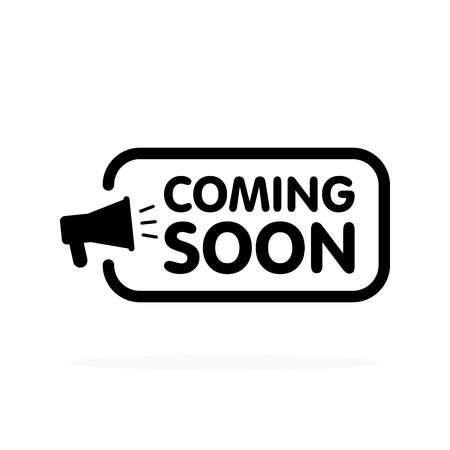 Coming soon sign with announcement megaphone. Vector flat illustration on white background. Vektorové ilustrace