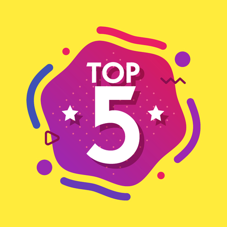 Top 5 five words on purple abctract background. Vector illustration.
