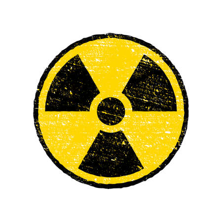 Radioactive warning yellow circle sign. Radioactivity warning vector symbol