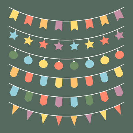 Set flag garland in minimalistic style on green christmas background. Vector illustration Illustration