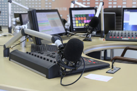 objectivity: Radio station. Microphone in a recording studio Stock Photo
