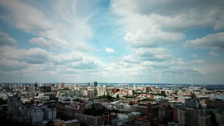 realestate: skyline with clouds under big city, Kiev Stock Photo
