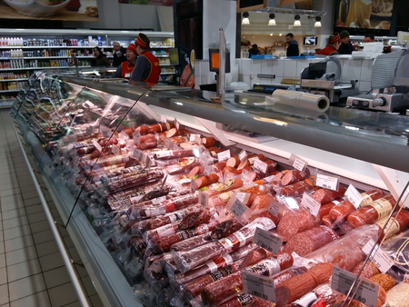 Kiev, March 6, 2018, Ukraine. Buyers in one of the supermarkets in Kiev buy meat products.