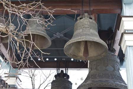 Kiev, March 24, 2018, Ukraine. Church bells near the small church in Kiev. Church bells ring out