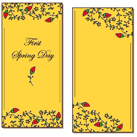first day: First spring day postcard with flower and leaves
