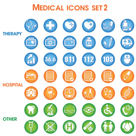 Medical icons set, vector set of 42 medical and medicine signs.