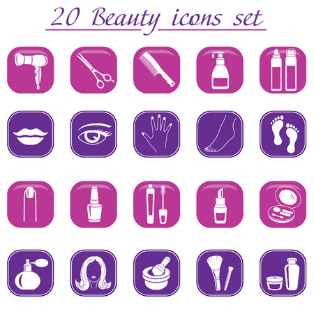 Beauty and makeup icons, vector set of 20 cosmetic signs. Vector