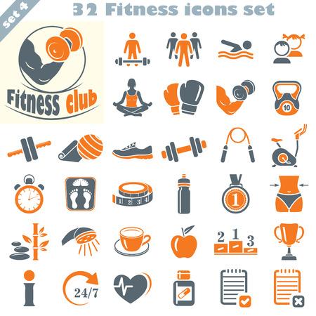 Fitness-Icons gesetzt, Vektor-Satz von 32 Fitness-Zeichen. Standard-Bild - 37564969