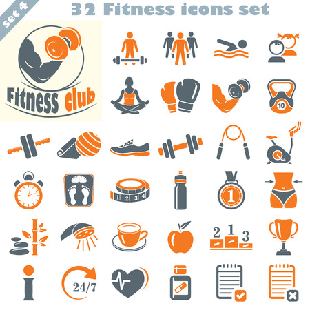 slim body: Fitness icons set, vector set of 32 fitness signs. Illustration