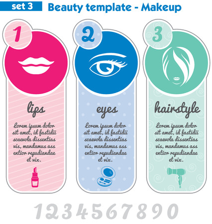 Beauty and makeup template, vector set of cosmetic signs. Vector