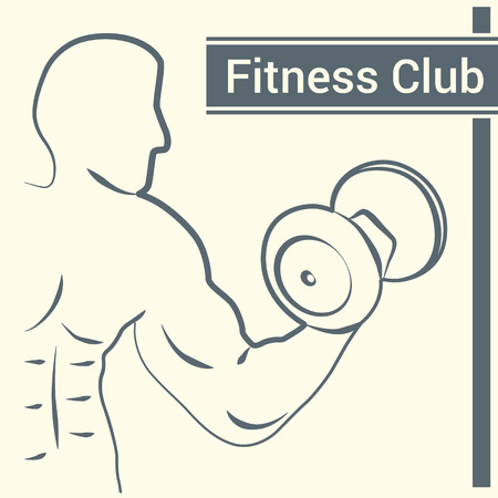 hand with dumbbells: Fitness club logo with a silhouette of a man bodybuilder with dumbbells in hand