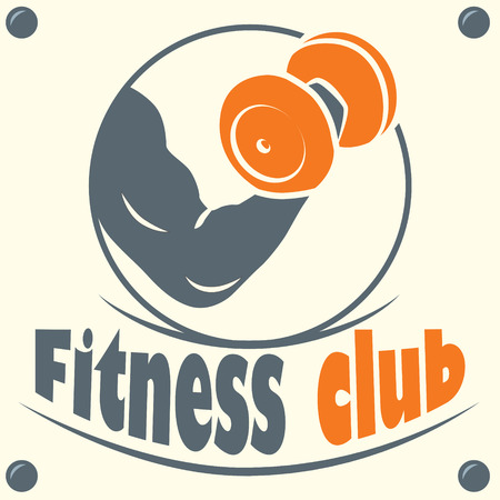 Fitness club logo with a silhouette of a man bodybuilder with dumbbells in hand