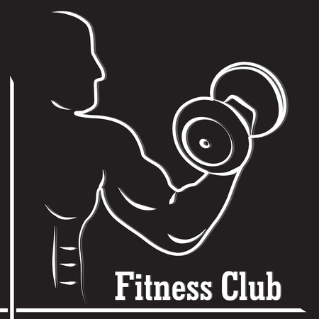 hand with dumbbells: Fitness club icon  with a silhouette of a man bodybuilder with dumbbells in hand